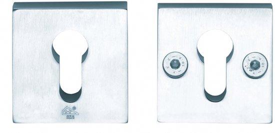 Intersteel SKG*** Veiligheids rozetten - massief vierkant - mat chroom - 0017.375140