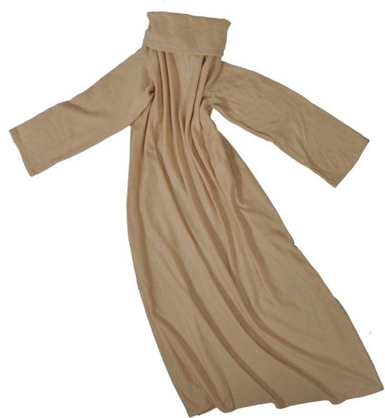 vidaXL Deken Fleece deken met mouwen beige 50410