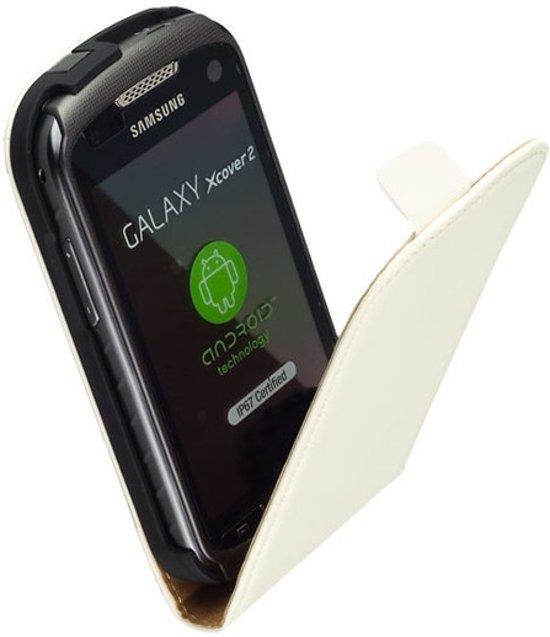 LELYCASE Flip Case Lederen Hoesje Samsung Galaxy Xcover 2 Wit in Bosscherheide