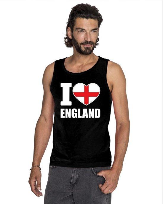 Zwart I love Engeland supporter singlet shirt/ tanktop heren - Engels shirt heren XL
