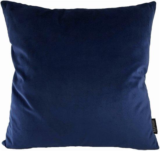 Velvet Dark Blue Kussenhoes | Fluweel - Polyester | 45 x 45 cm | Blauw