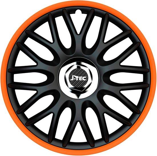 J-Tec Wieldoppen 13 inch Orden R zwart/oranje - chroom ring