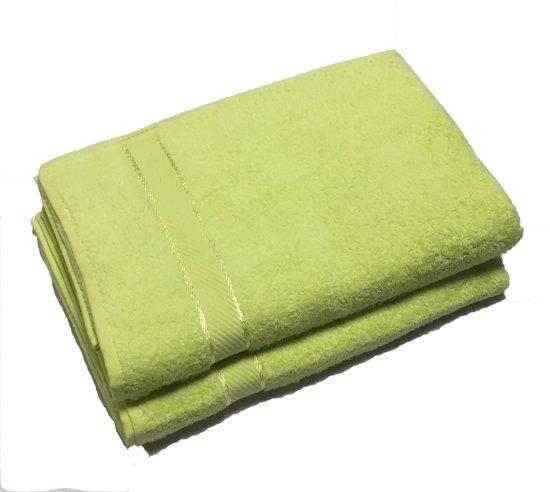 Handdoek 50x100 cm Uni Luxe lime groen - 6 stuks
