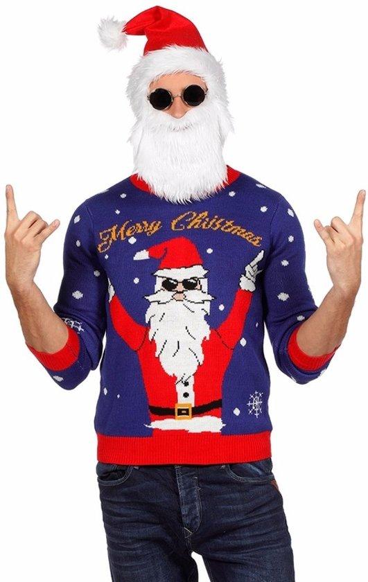 Kersttrui Dames Blauw.Bol Com Blauwe Kersttrui Rockende Kerstman Voor Dames Heren