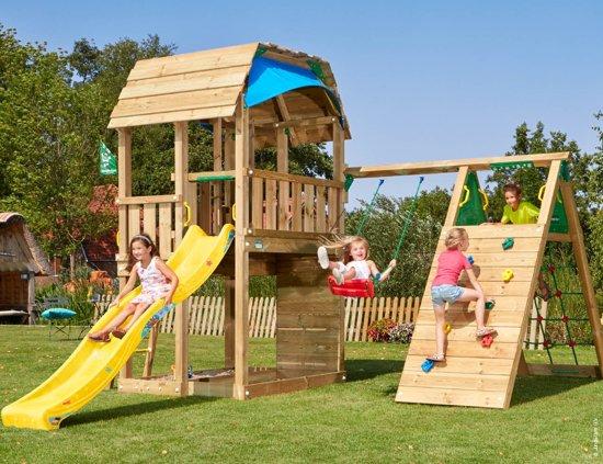 Jungle Gym - Barn Climb - Klimrek met Speeltoren - Met Glijbaan - Geel