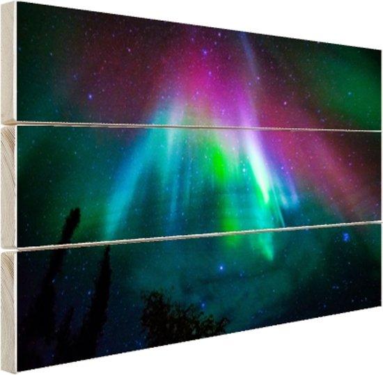 FotoCadeau.nl - Felle kleuren noorderlicht Hout 120x80 cm - Foto print op Hout (Wanddecoratie)