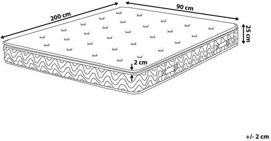 Beliani Luxus Pocketverenmatras Beige Schuim 90 x 200 cm