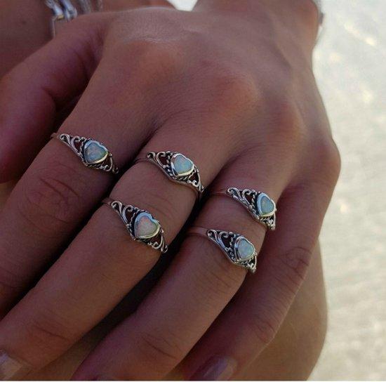 Hart ring opal - 925 zilver - maat 18.00 mm / maat 57