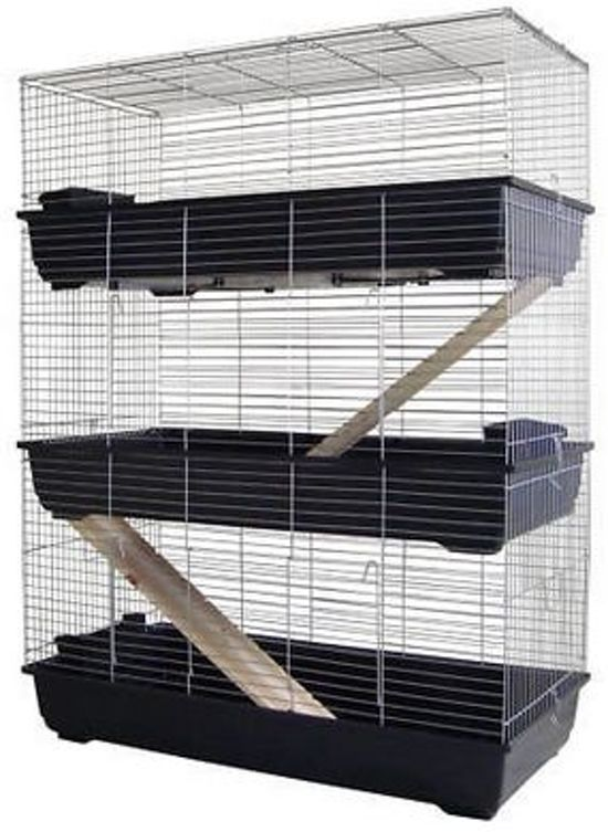 Konijnenkooi / caviakooi Skyline Rabbit 100 triple zwart
