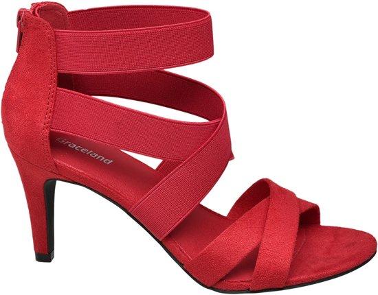 Graceland Dames Rode sandalette elastieken banden - Maat 37