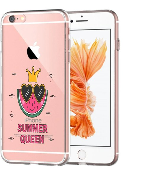 Apple Iphone 6 Plus / 6S PLus Transparant siliconen hoesje (Summer Queen)