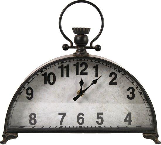 Klok - Pendule - Metaal - 31cm - Zwart/grijs