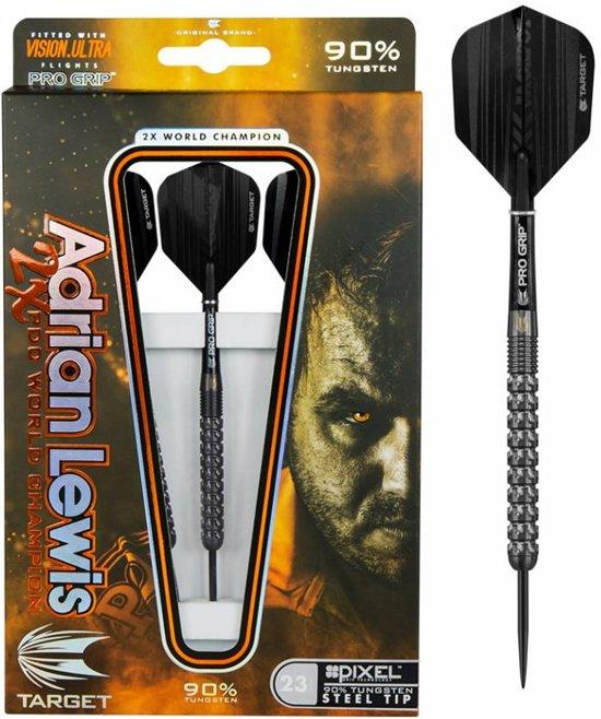 Target Adrian Lewis Black Pixel Grip 90% 25 gram Steeltip Dartpijlen