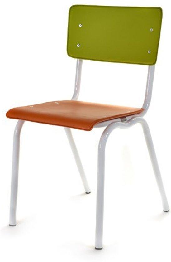 bol.com | Stoelen in vinyl met wit frame by Luc Vincent (oranje/groen)