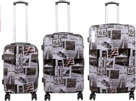reis kofferset 3 delig DUBBEL WIEL - Amerika