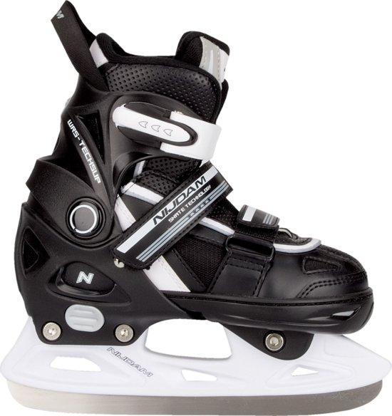 Nijdam 3170 Junior IJshockeyschaats - Verstelbaar - Semi-Softboot - Zwart/Wit - Maat 29-32