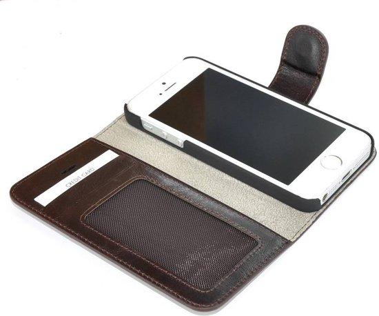 Pearlycase® Echt Lederen Wallet Bookcase Apple iPhone 5/5S/SE met de handgemaakte donkerbruin Leren Telefoonhoesje in Dekeshorst