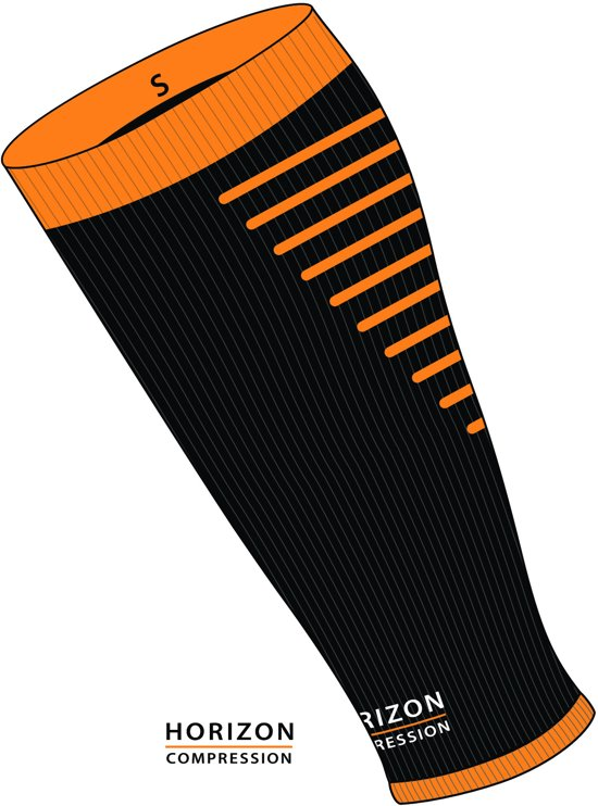 Horizon Calf sleeves Compressie tubes zwart / oranje Large