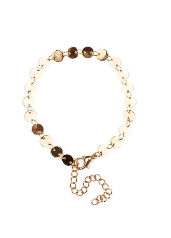 Coin bead bracelet gold