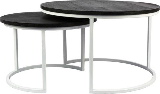 Zwart Wit Salon Tafel.Maximavida Luxe Salontafel Set Zwart Mahonie Houten Blad Wit Gecoat Metaal