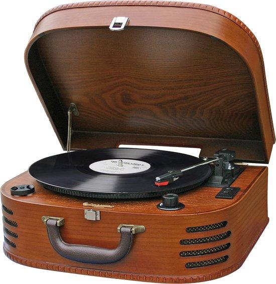 retro koffer platenspeler in hout met radio fm. Black Bedroom Furniture Sets. Home Design Ideas