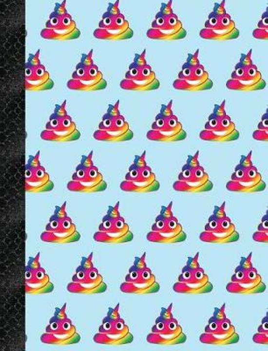 My Super Cute Blue Rainbow Unicorn Poop Emoji 4x4 Quad Graph Paper Notebook