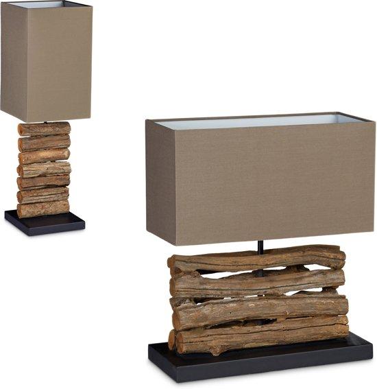 Zeer bol.com | relaxdays - design tafellamp hout - lamp takken - bruin KW33