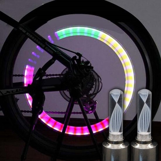 fietswielverlichting led multicolor ventiellampjes 2st