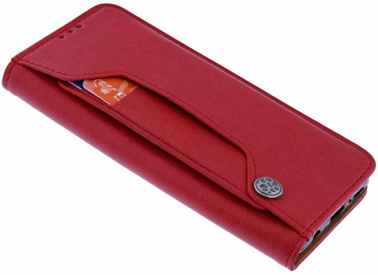 iPhone X / Xs Flip Cover met Magneetsluiting en Uitschuifbare Kaartenhouder Rood