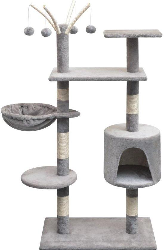 vidaXL Kattenkrabpaal met sisal krabpalen 125 cm grijs