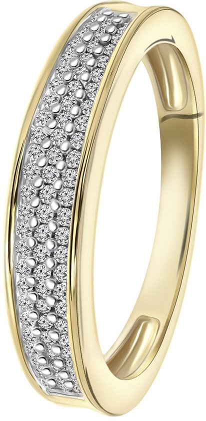 Lucardi - Diamond Luxury - 14 Karaat geelgouden ring met diamant 0,20CT