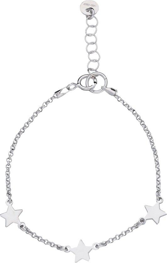 Lifetime Love armband met sterren - zilver gerodineerd - ankerschakel - meisjeslengte