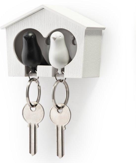 Qualy sleutelhouder vogelhuisje Sparrow Couple - Kleur - Wit - Zwart
