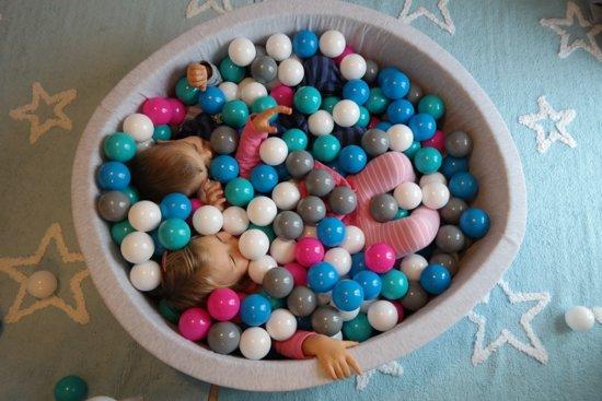 Zachte Jersey baby kinderen Ballenbak met 300 ballen,  - zwart, wit, grijs