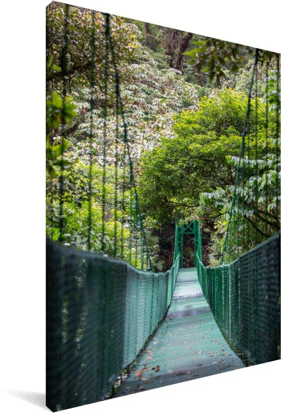 Mooie hangende brug in het Bosque Nuboso Monteverde Canvas 120x180 cm - Foto print op Canvas schilderij (Wanddecoratie woonkamer / slaapkamer) XXL / Groot formaat!