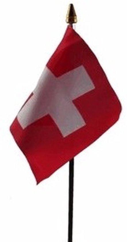 Zwitserland mini vlaggetje op stok 10 x 15 cm