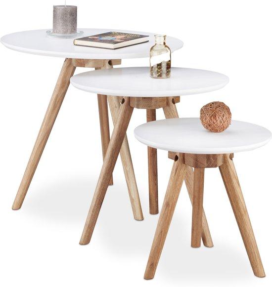 relaxdays - bijzettafeltjes walnoot hout - 3  tafeltjes - bijzet - nachtkastje