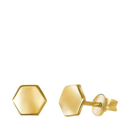 Lucardi - 14 Karaat geelgouden oorbellen hexagon 4mm