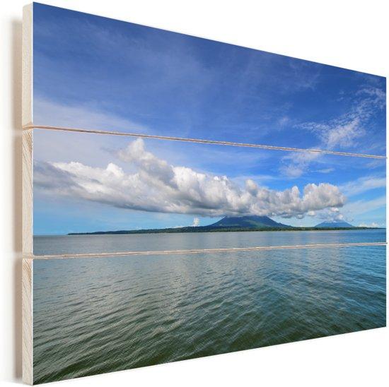 Uitzicht op Ometepe vanaf het water Vurenhout met planken 60x40 cm - Foto print op Hout (Wanddecoratie)