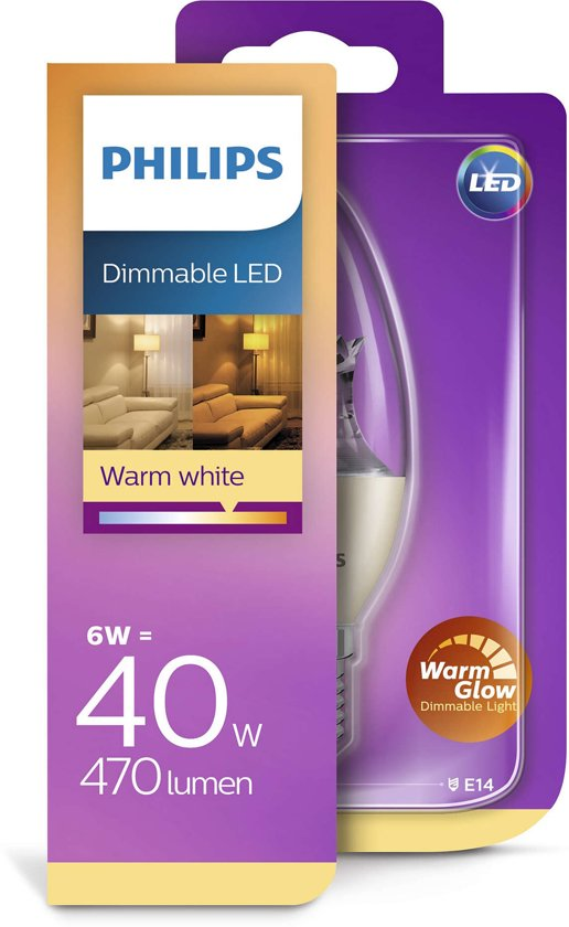 Philips LED kaars E14 dimbaar 6W (40W) warmwit 470lm helder