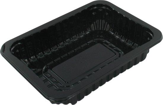 Schaal, vleesschaal, PET, 70/38, rechthoekig, 183x135mm, zwart