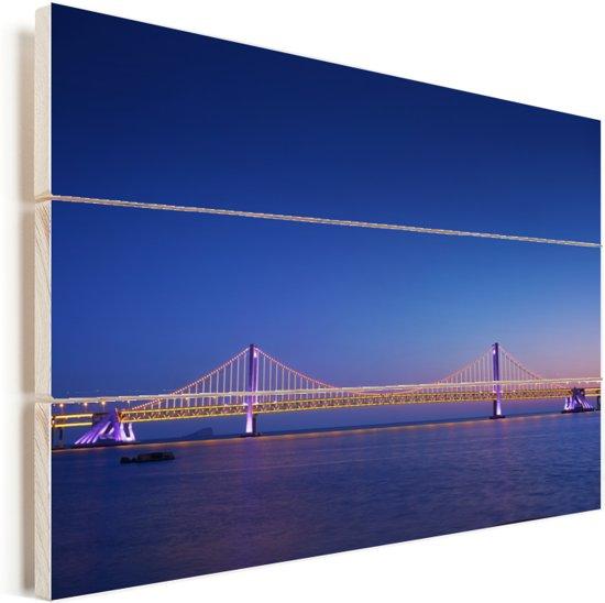 Nacht uitzicht op de Dalian Xinghai brug in Dalian Vurenhout met planken 60x40 cm - Foto print op Hout (Wanddecoratie)