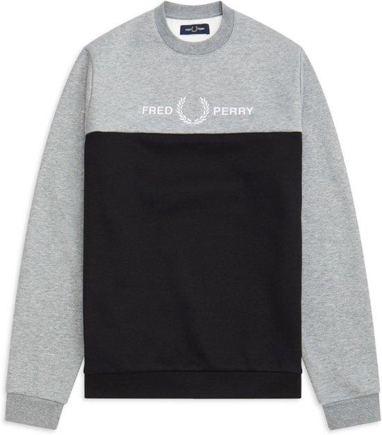 Fred Perry Trui - Maat M  - Mannen - grijs/zwart/wit