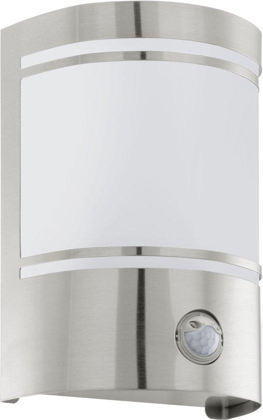 EGLO Cerno - Buitenverlichting - Wandlamp Met Sensor - 1 Lichts - RVS - Wit