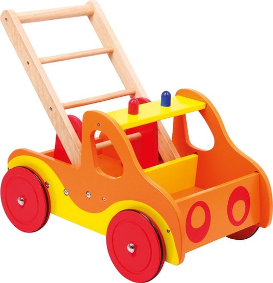 Loopwagen hout met activiteiten (baby walker) - Brandweer - Houten speelgoed vanaf 1 jaar
