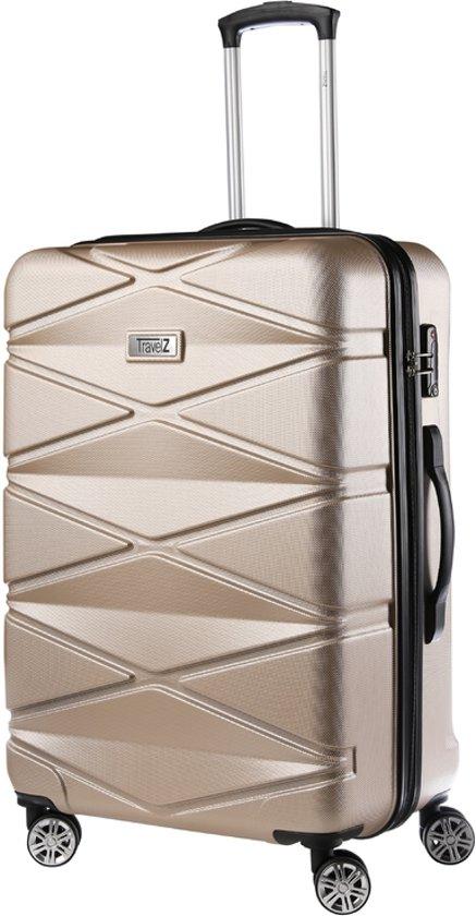 TravelZ - Diamond - Grote Reiskoffer 76cm - TSA Reistrolley ABS - Volledig gevoerd met dubbele wielen - Champagne