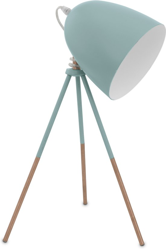 bol eglo vintage tafellamp 1 lichts mint blauw