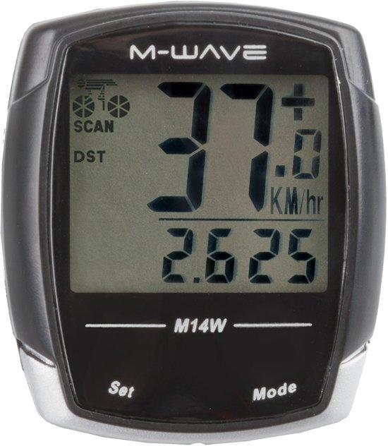 M-wave M14W - Fietscomputer - Draadloos - 14 Functies - Zwart