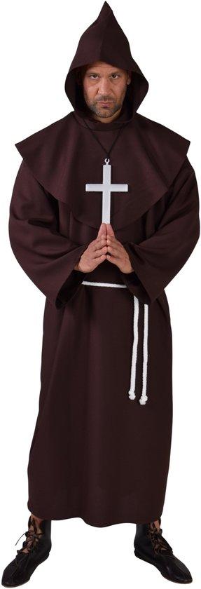 Pater kleed met kap-Kleur:Bruin-Maat:XL