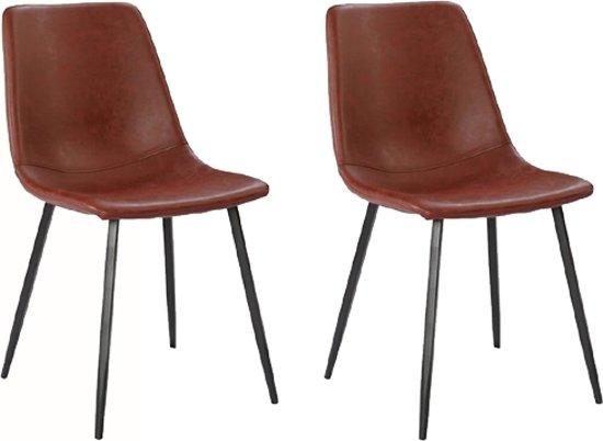 Cognac Kleur Stoel : Bol set van twee stoelen dallas in cognac met zwart onderstel